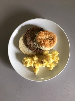 Sausage Biscuit and Scrambled Eggs