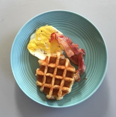 Waffle, Fried Egg, and Bacon