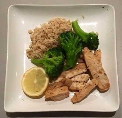 Lemon Grilled Chicken, Brown Rice and Broccoli
