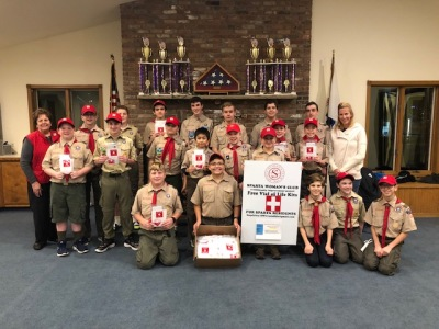 Boy Scout Troop 95  assists the Club in assembly of VOL kits - Nov 2018