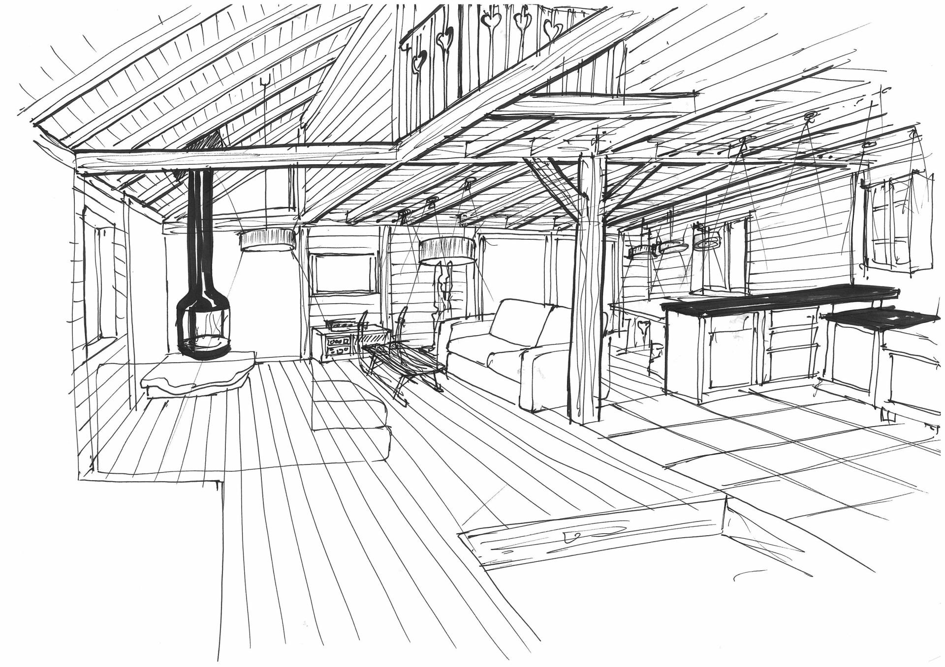Sketch of renovated chalet living area