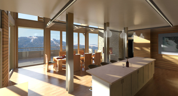 Inside of new build chalet, Samoens