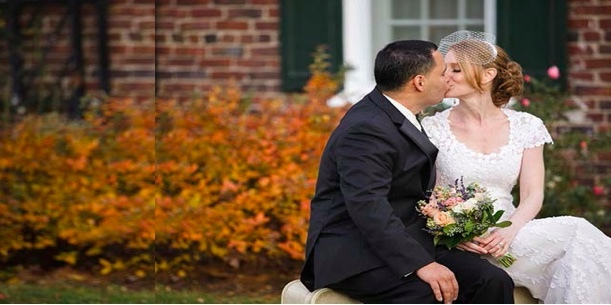Outdoor Wedding Kiss at the WCGR