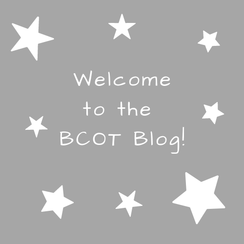 """Gray background with white stars and the words """"Welcome! to the BCOT Blog"""""""