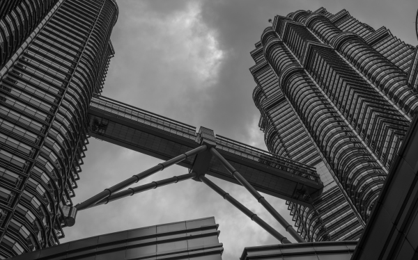 Looking up at Petronas Twin Towers