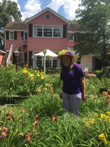 Amanda in Tim's garden
