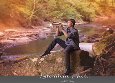 Senior, boy, water, music, band, trumpet, fall