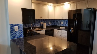 Fully stocked kitchen of furnished condominium in Harrisburg, PA