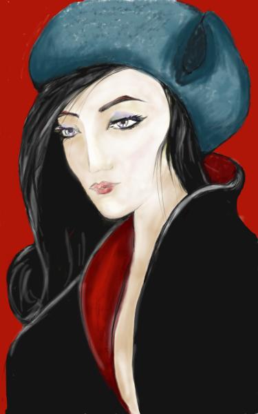 Woman wearing a Russian hat