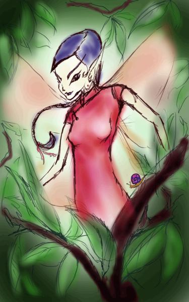 Elf fairy with snail