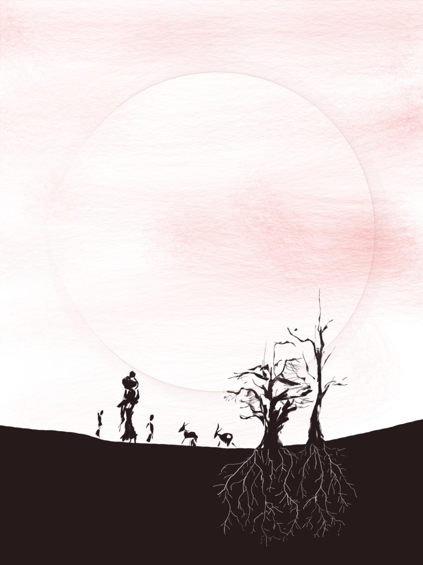 Woman, children, goats, trees, sunset