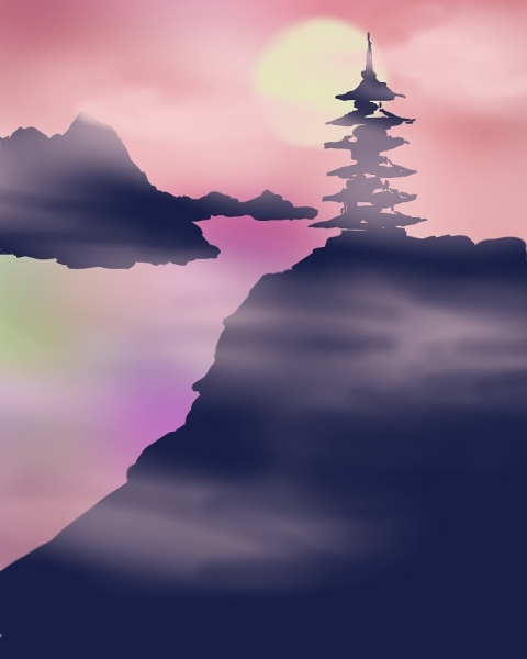 Sunset over pagoda
