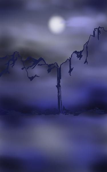 Moon, waterfall, cold night