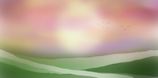 Sunset over grassland