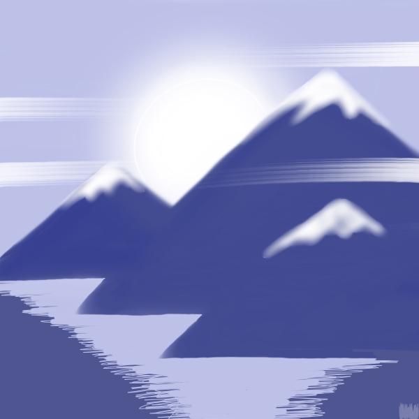 Pale sun, snowy peaks