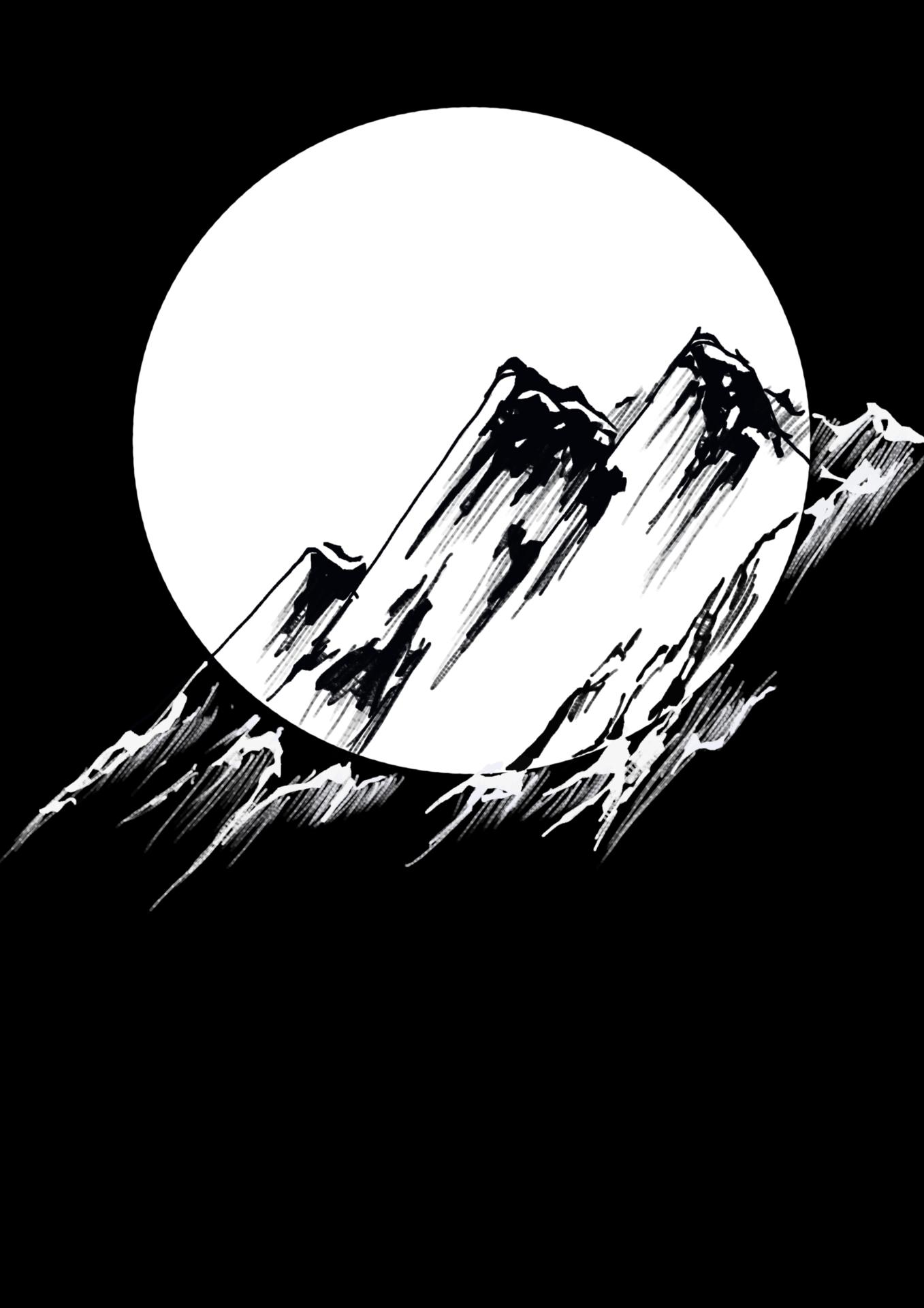 Moon over peaks