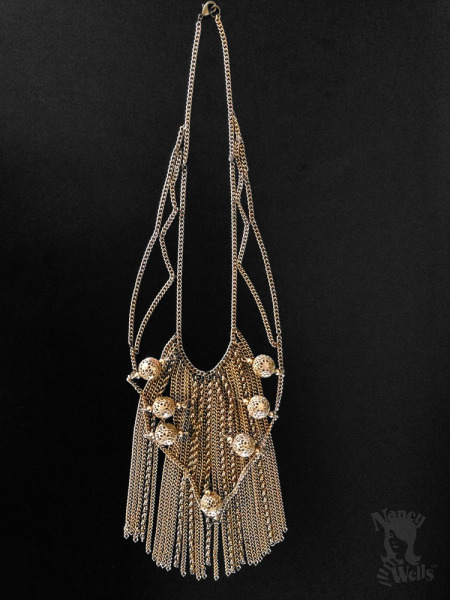 Gold Chain and Filigree Bead and Fringe Necklace