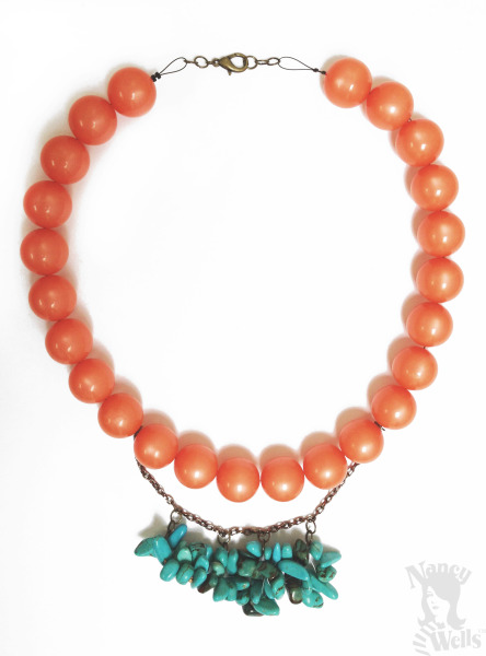 Coral Beads with Turquoise Cluster