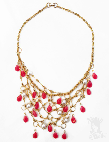 Gold and Pink Fisherman's Heart Necklace