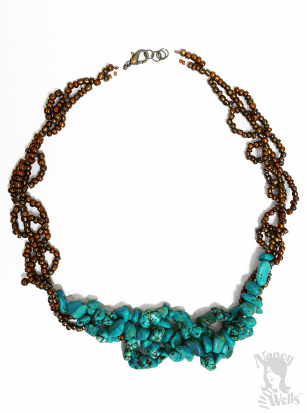 Bronze and Raw Turquoise Cluster