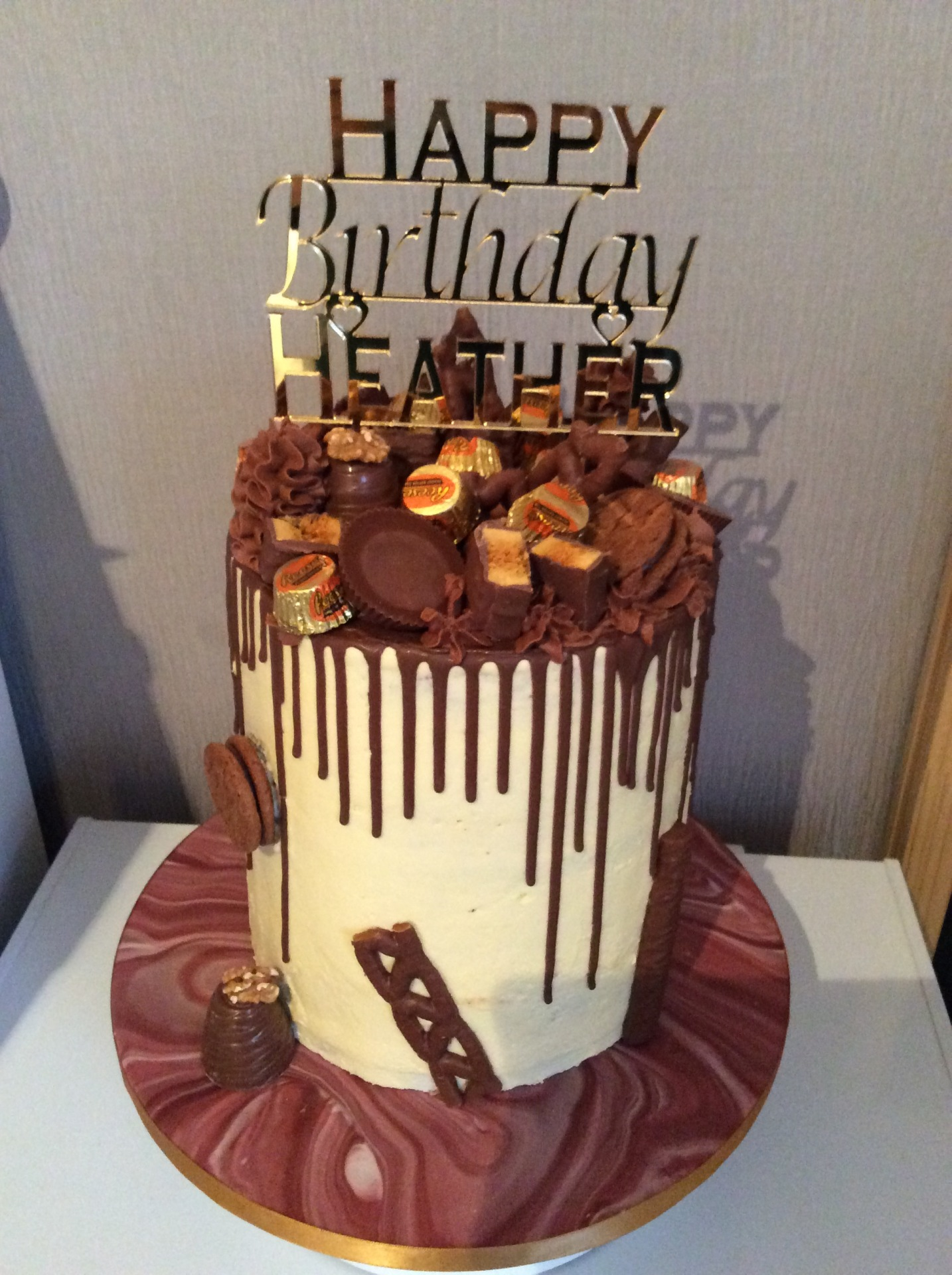 "Chocolate heaven 8"" with personalised cake topper £85"