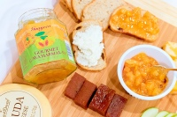 Snack sizes of Guava Gourmet Jam, Marmalade, and Paste with crackers