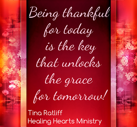Being thankful for today is the key that unlocks the grace for tomorrow!