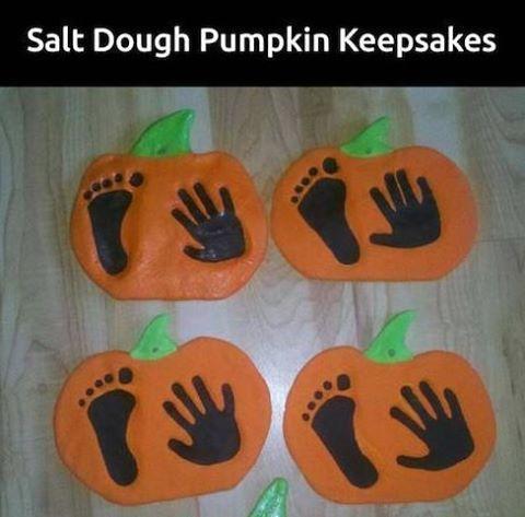 How to make dough handprint and footprint pumpkin keepsake!
