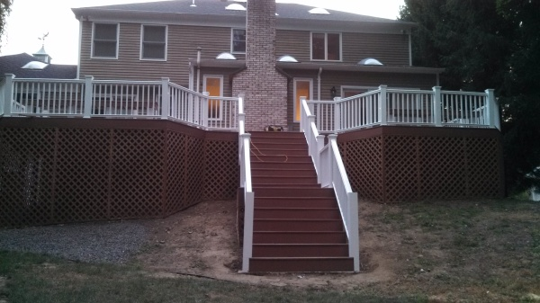 Renovated deck with wider stair case