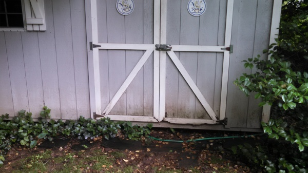 Damaged shed door