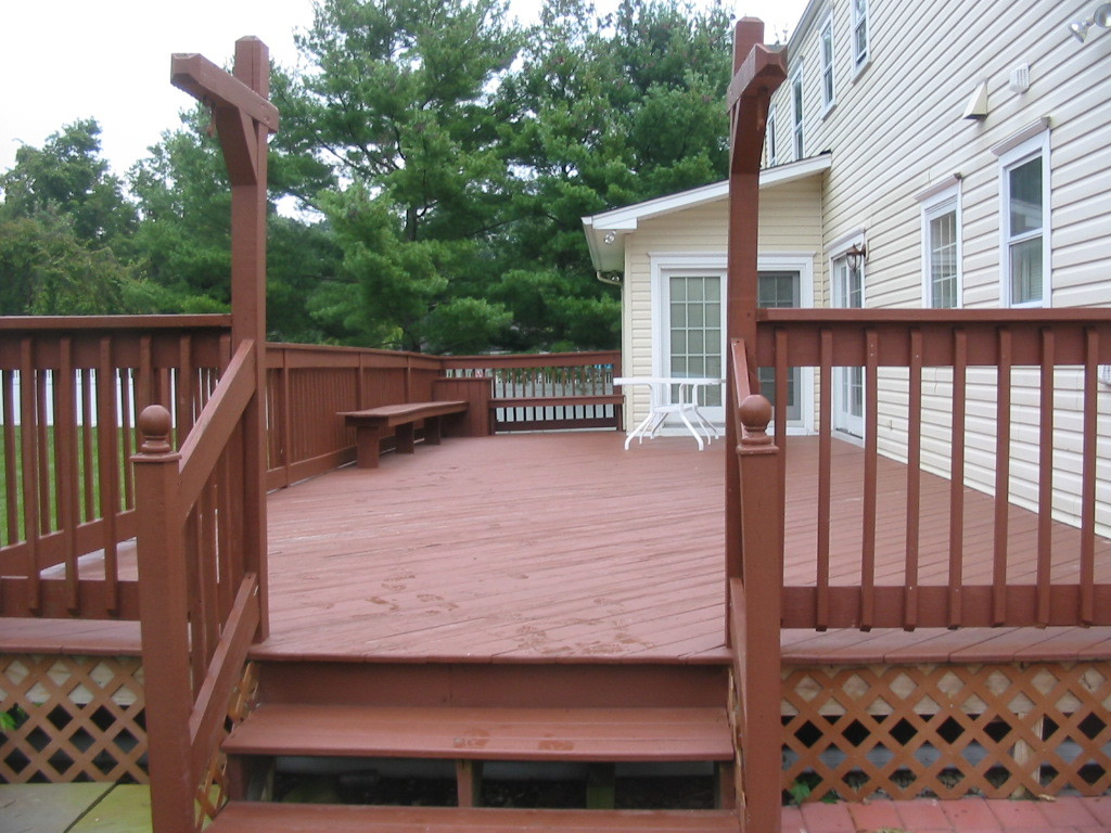 Weathered, splintered deck