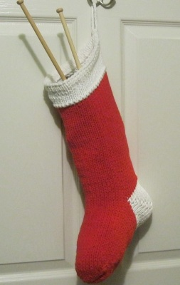 Hand Knitted Christmas Stocking, christmas, stockings, classic knitted stocking
