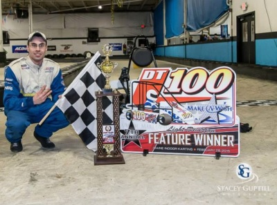 Alby Ovitt in victory lane at the DT 100.  (DT 100/Stacy Guptill Photo)