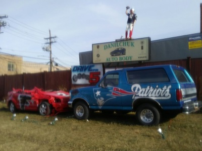 The Patriots Bronco crushes a Falcon.  (Mike Twist Photo)