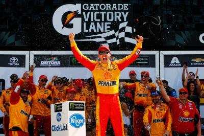 Joey Logano in victory lane.  (NASCAR Photo)