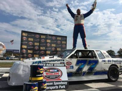 Phil Jacques in victory lane at Thompson.  (Thompson Speedway Photo)