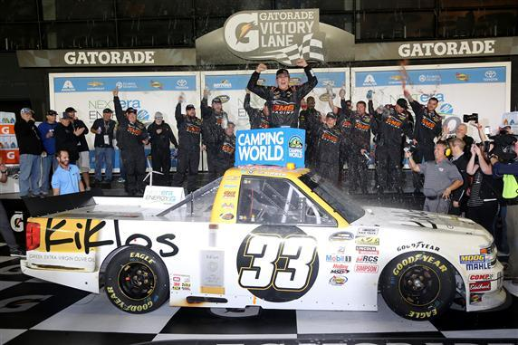 Kaz Grala in victory lane at Daytona.  (NASCAR Photo)