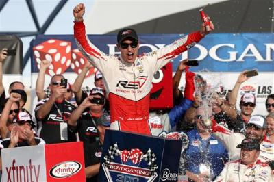 Joey Loagno in victory lane at Las Vegas.  (NASCAR Photo)
