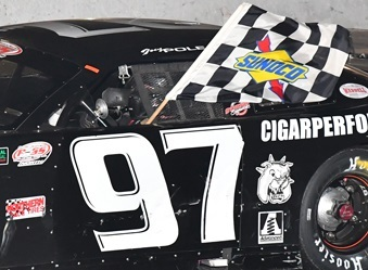 Joey Polewarcyzk celebates a victory in his #97  (PASS Photo)