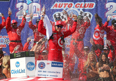 Kyle Larson, and his team, in victory lane at California.  (NASCAR Photo)