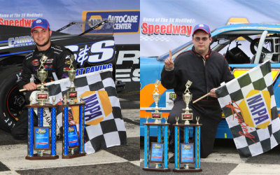 Chase Dowling (Left) and Josh Wood (Right) in Stafford victory lane. (Stafford Motor Speedway Photo)