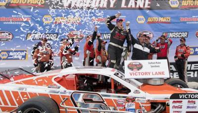 Ryan Preece in victory lane at Stafford.  (NASCAR Photo)