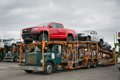 Chevrolet Colorado ZR2 Pickups are headed to their new homes.  (GM Photo)