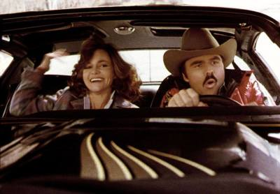Sally Field (Left) and Burt Reynolds (Right) in Smokey and the Bandit.  (Universal Films Photo)