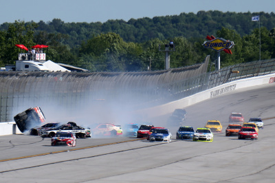 Joey Logano was one of many drivers caught up in this wreck at Talladega.  (NASCAR Photo)