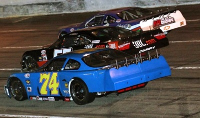 Three-wide PASS racing at Hickory.  (PASS Photo)