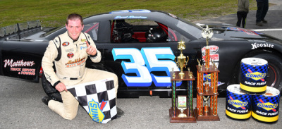 Derek Ramstrom in victory lane.  (PASS Photo)