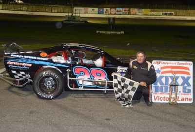 Dwight Jarvis in victory lane at Claremont Speedway.  (Claremont Speedway Photo)