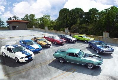 The Speed Family's collection of Mustangs.  (Ford Motor Company Photo)