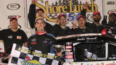 Austin Theriault in victory lane at Elko.  (ARCA Racing Series Photo)
